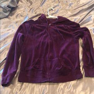 Purple old navy velvet zip up jacket Size: S